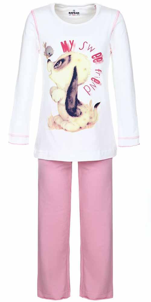Пижама для девочки Baykar, цвет: молочный, розовый. N9002208. Размер 110/116N9002208Пижама для девочки Baykar включает в себя лонгслив и брюки. Пижама изготовлена из эластичного хлопка.Лонгслив с длинными рукавами и круглым вырезом горловины оформлен принтом с изображением щенка и надписью My Sweet Friend.Свободные брюки с широкой эластичной резинкой на поясе имеют комфортные эластичные швы.