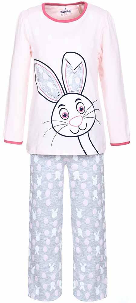 Пижама для девочки Baykar, цвет: серый, розовый. N9011112. Размер 104/110N9011112Мягкая пижама для девочки Baykar, состоящая из футболки с длинным рукавом и брюк выполнена из хлопка с добавлением эластана. Футболка с круглым вырезом горловины и длинными рукавами.Брюки на талии имеют мягкую резинку, благодаря чему они не сдавливают животик ребенка и не сползают. По бокам брюки дополнены втачными карманами. Изделие оформлено оригинальным принтом.