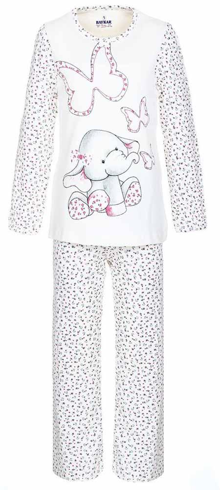 Пижама для девочки Baykar, цвет: молочный, розовый. N9021111. Размер 104/110N9021111В-22-10.Мягкая пижама для девочки Baykar, состоящая из футболки с длинным рукавом и брюк выполнена из хлопка с добавлением эластана. Футболка с круглым вырезом горловины и длинными рукавами.Брюки на талии имеют мягкую резинку, благодаря чему они не сдавливают животик ребенка и не сползают. Изделие оформлено интересным принтом.