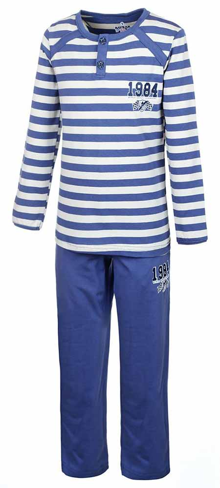Пижама для мальчика Baykar, цвет: синий, кремовый. N9050138. Размер 104/110N9050138Пижама Baykar выполнена из хлопка с добавлением эластана, комфортных при движении. Кофта с круглым вырезом оформлена притом в полоску и аппликацией. Модель с длинным рукавом застегивается с помощью пуговиц на горловине. Штаны оформлены аппликацией, дополнены втачными карманами и эластичной резинкой на талии.