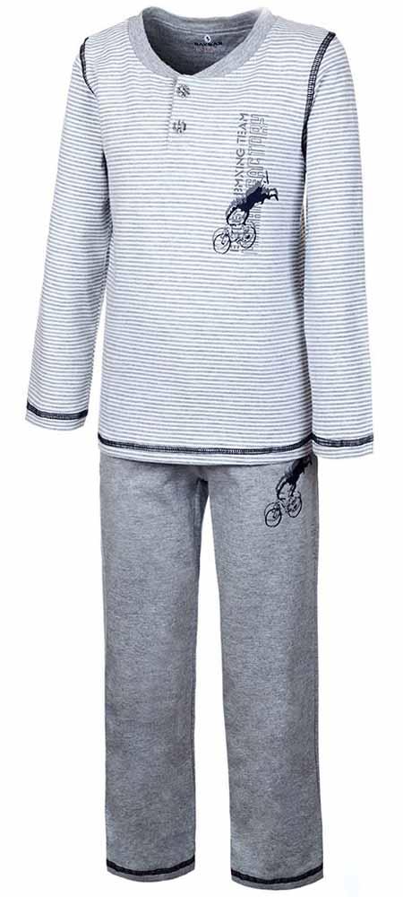 Пижама для мальчика Baykar, цвет: серый. N9051162B-22-10. Размер 110/116N9051162B-22-10Пижама для мальчика Baykar включает в себя футболку с длинным рукавом и брюки. Пижама изготовлена из эластичного хлопка.Футболка с длинными рукавами и круглым вырезом горловины застегивается на 2 пуговицы на груди. Модель оформлена принтом в полоску и дополнена изображением велосипедиста.Свободные брюки с широкой эластичной резинкой на поясе дополнены двумя втачными карманами и имеют комфортные эластичные швы. Изделие украшено небольшим принтом с изображением велосипедиста, исполняющего трюк.
