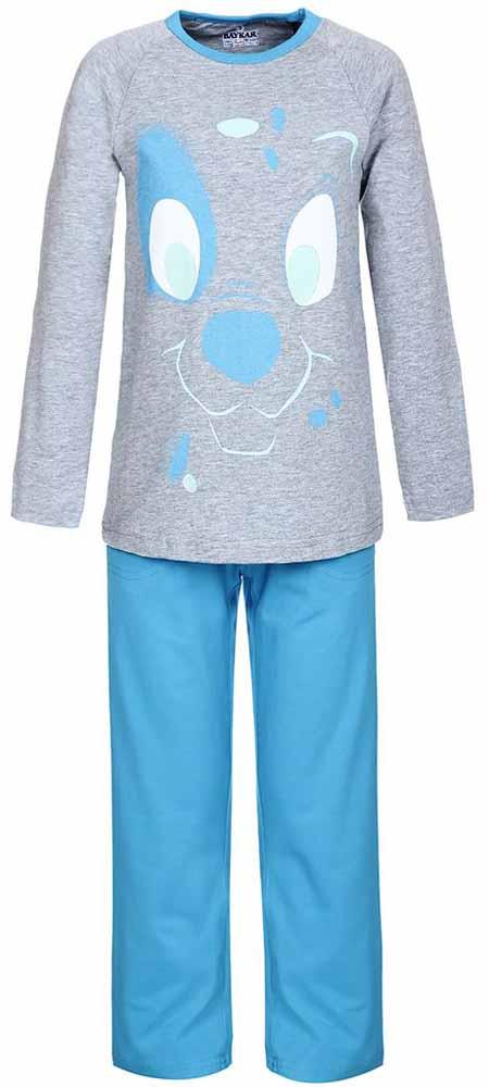 Пижама для мальчика Baykar, цвет: серый, голубой. N9095220. Размер 104/110N9095220Мягкая пижама для мальчика Baykar, состоящая из футболки с длинным рукавом и брюк выполнена из хлопка с добавлением эластана. Футболка с круглым вырезом горловины и длинными рукавами.Брюки на талии имеют мягкую резинку, благодаря чему они не сдавливают животик ребенка и не сползают. Брюки по бокам дополнены втачными кармашками. Изделие оформлено принтом с изображением мордочки щенка.