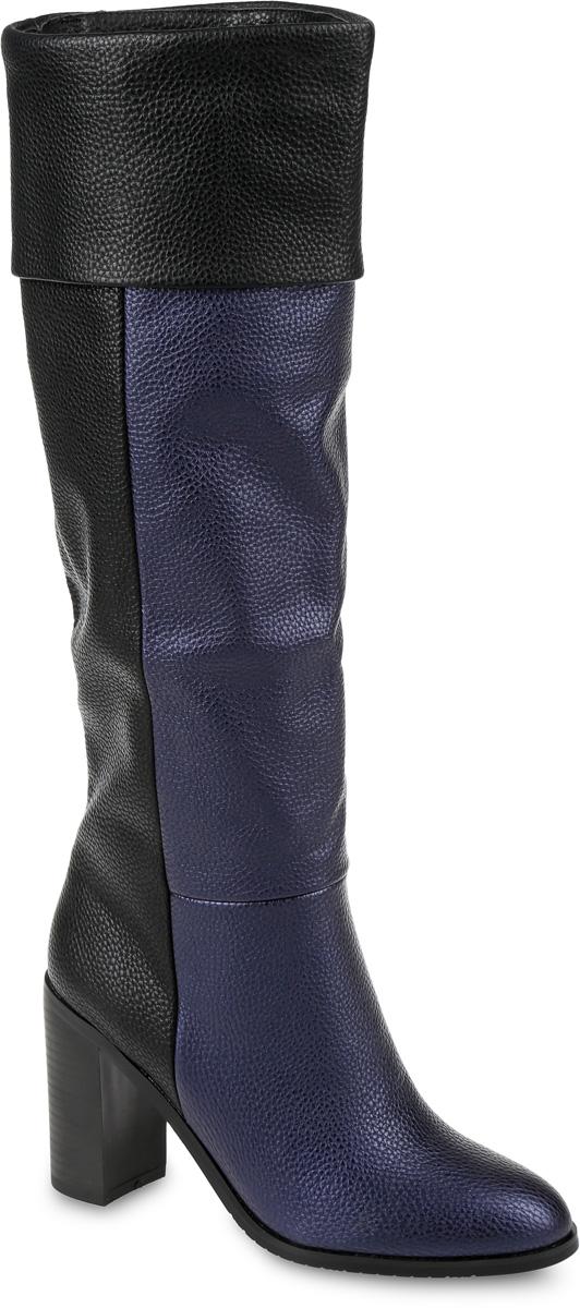 Сапоги женские LK Collection, цвет: синий, черный. SP-BA0201-1. Размер 38SP-BA0201-1Сапоги выполнены из искусственной кожи. Подкладка и стелька, изготовленные из мягкой байки, защитят ноги от холода и обеспечат комфорт. Подошва выполнена из термопластичного материала. Модель оснащена устойчивым каблуком.