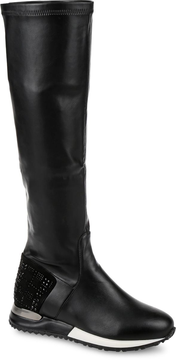 Сапоги женские LK Collection, цвет: черный. LC-0420-14. Размер 38LC-0420-14Сапоги выполнены из искусственной кожи. Подкладка и стелька, изготовленные из мягкой байки, защитят ноги от холода и обеспечат комфорт. Подошва выполнена из термопластичного материала. Задник усилен вставкой из мягкого материала, оформленного стразами. Сапоги дополнены короткой застежкой-молнией, расположенной на одной из боковых сторон.