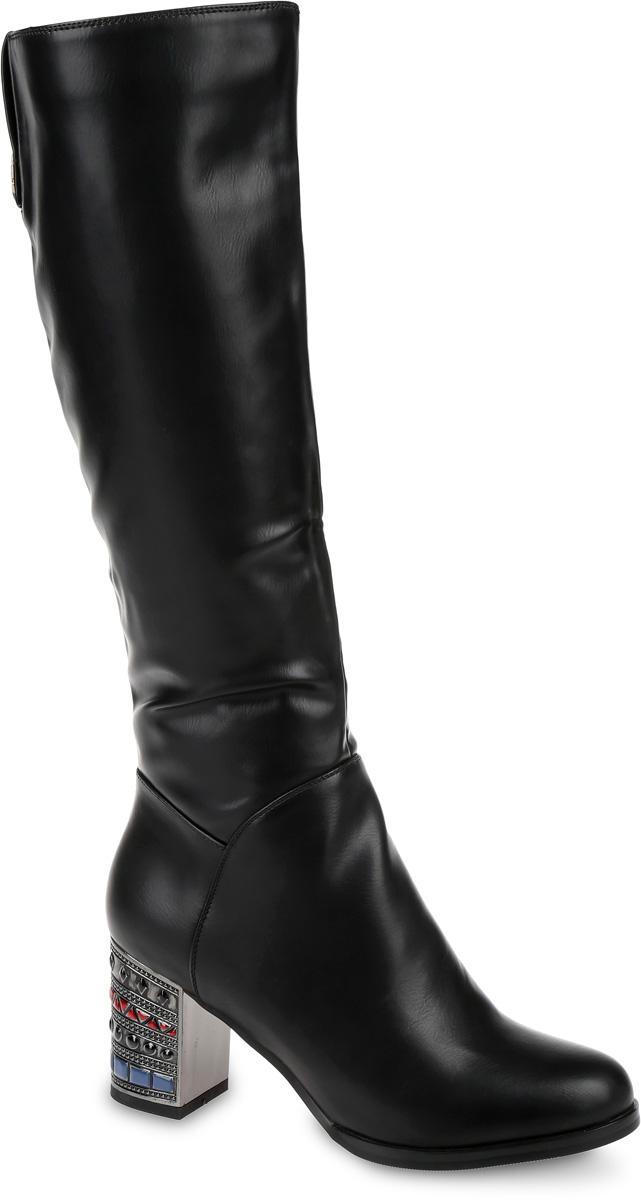 Сапоги женские LK Collection, цвет: черный. SP-EA0403-2. Размер 35SP-EA0403-2Сапоги выполнены из искусственной кожи. Подкладка и стелька, изготовленные из мягкой байки, защитят ноги от холода и обеспечат комфорт. Сапоги застегиваются на застежку-молнию, расположенную на одной из боковых сторон. Подошва выполнена из термопластичного материала. Модель оснащена устойчивым каблуком.