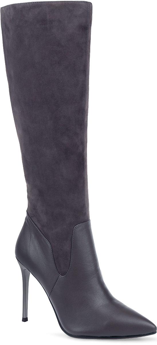 Сапоги женские Paolo Conte, цвет: серо-коричневый. 91-125-41-5. Размер 4091-125-41-5Стильные женские сапоги от Paolo Conte выполнены из натуральной кожи и натурального велюра. Подкладка и стелька выполнены из байки. Застегивается модель на боковую застежку-молнию. Эластичные вставки на голенище обеспечивают идеальную посадку модели на ноге. Ультравысокий каблук-шпилька, стилизованный под металл, невероятно устойчив. Подошва и каблук дополнены рифлением.
