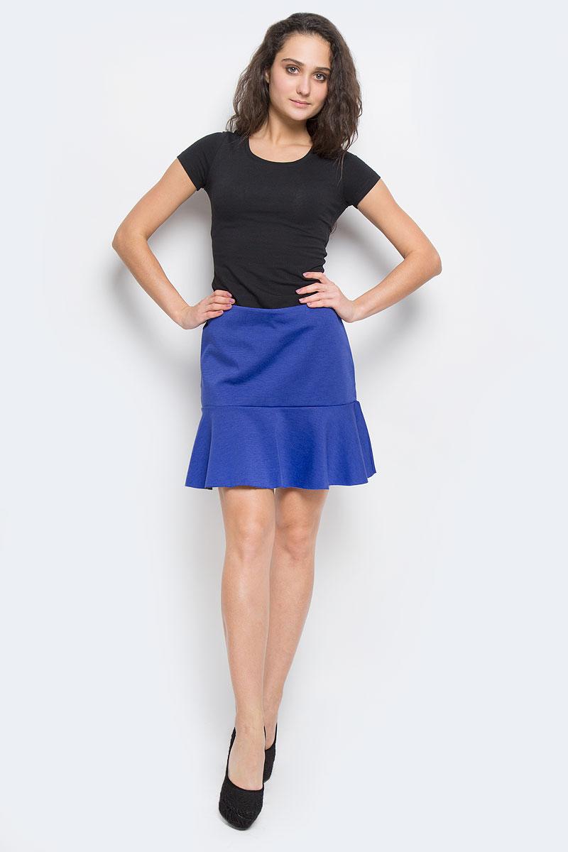 Юбка Sela, цвет: синий. SKk-118/758-5322D. Размер L (48)SKk-118/758-5322DОригинальная юбка Sela выполнена из плотного трикотажа с добавлением эластана, она невероятно мягкая и приятная на ощупь. Очаровательная юбка застегивается на застежку-молнию, расположенную в заднем шве. Юбка имеет ассиметричный подол с контрастной изнанкой, она выгодно подчеркнет ваш силуэт и поможет создать яркий образ. Стильная юбка выгодно освежит и разнообразит любой гардероб. Создайте женственный образ и подчеркните свою индивидуальность!