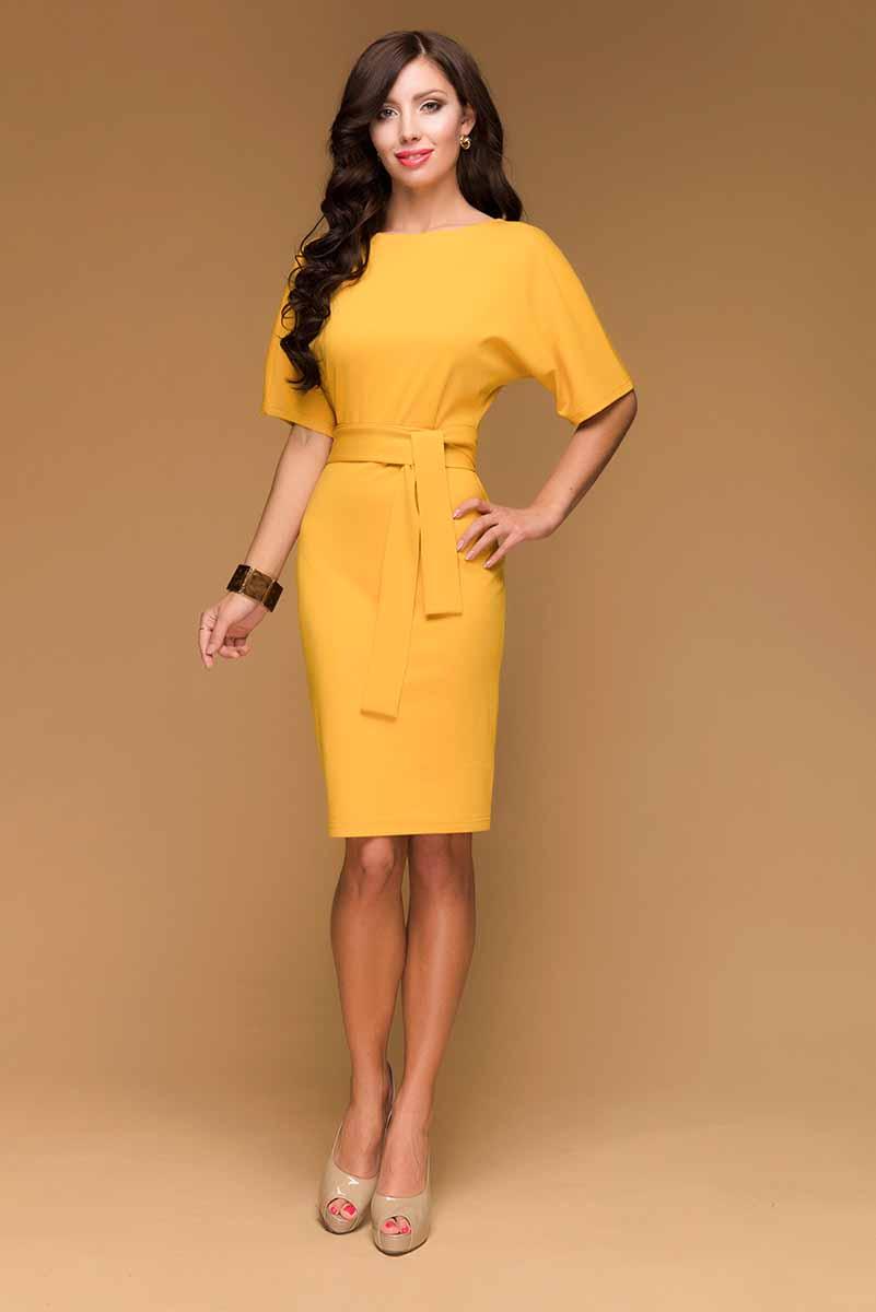 Платье 1001 Dress, цвет: горчичный. DM00211. Размер L (46)DM00211Платье 1001 Dress фасона летучая мышь в стиле 80-х годов. Выполнено из универсального джерси – очень красиво садится по фигуре, износостойкое, прослужит не один сезон. Одна из любимых моделей наших покупательниц.