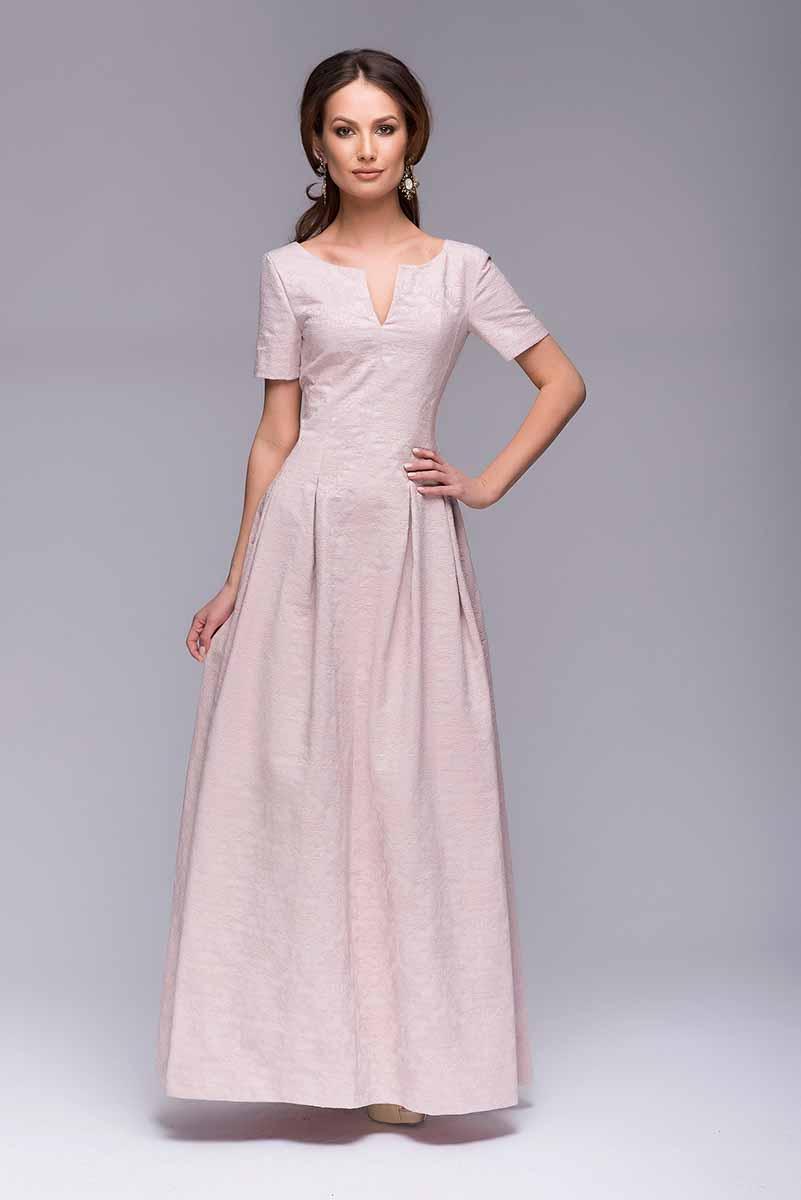 Платье 1001 Dress, цвет: светло-розовый. DM00383. Размер XL (48)DM00383Длинное вечернее платье 1001 Dress. Элегантный V-образный вырез в зоне декольте и на спинке. Оригинальные рельефы, переходящие во встречные складки на юбке. Благодаря использованию хлопковой жаккардовой ткани на платье создается роскошный ажурный рисунок.