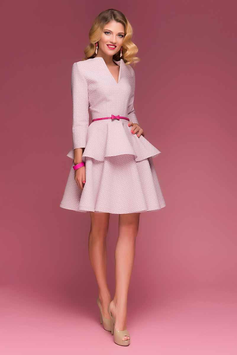 Платье 1001 Dress, цвет: светло-розовый. DM00423. Размер L (46)DM00423Коктейльное платье-мини 1001 Dress. Детали: романтичный цвет, глубокий вырез и юбка с воланами. Платье выполнено из жаккарда. Идеально садится на любую фигуру, подчеркивая нежность и красоту его обладательницы.