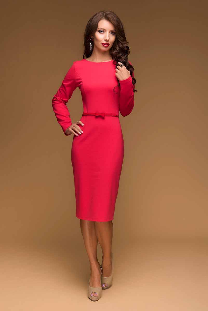 Платье 1001 Dress, цвет: коралловый. DM00433. Размер M (44)DM00433Платье-футляр 1001 Dress выполнено из комфортного трикотажа джерси.Модель длины миди. Предназначено для повседневной носки, но в сочетании с нарядными аксессуарами станет прекрасным вариантом для романтического ужина или похода в театр.