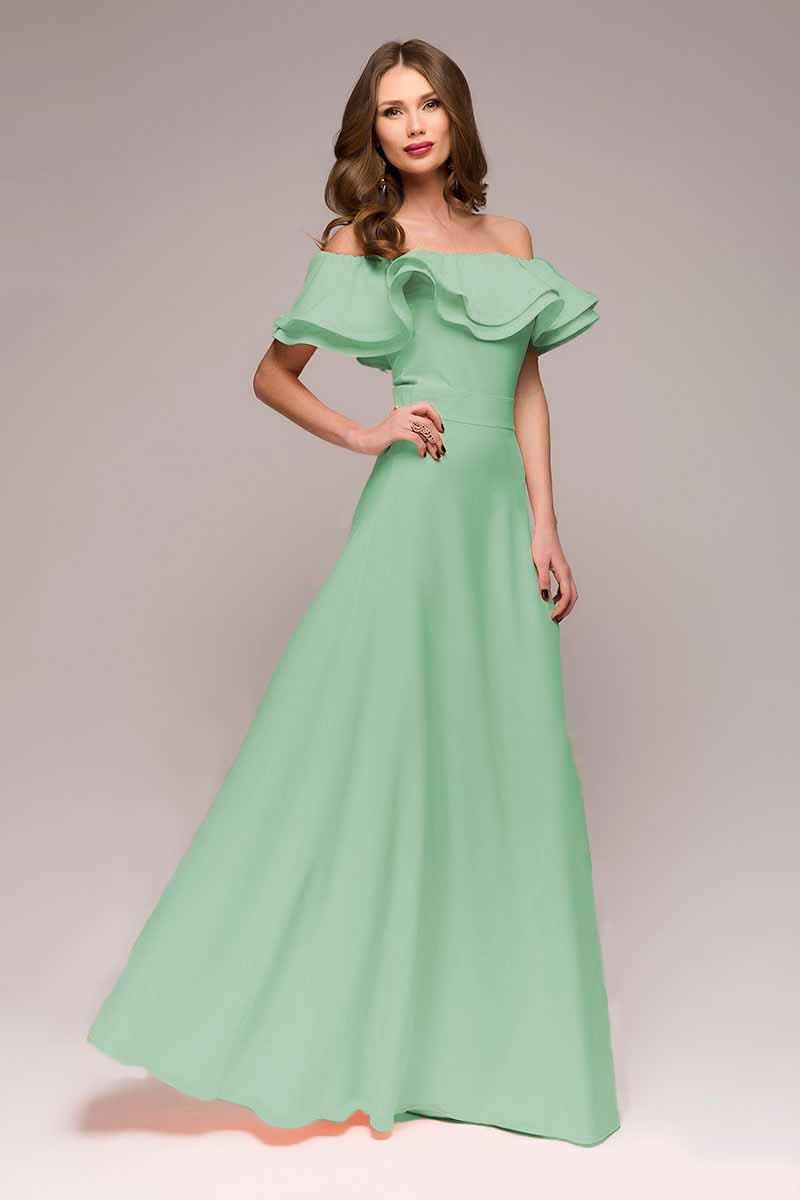 Платье 1001 Dress, цвет: светло-зеленый. DM00546. Размер XL (48)DM00546Шикарное платье 1001 Dress для шикарных женщин. Нежный цвет, длинная летящая юбка, воланы на плечах и втачной пояс, подчеркивающий талию, создают невероятно хрупкий и женственный образ. Идеальный выбор для торжественного дня.