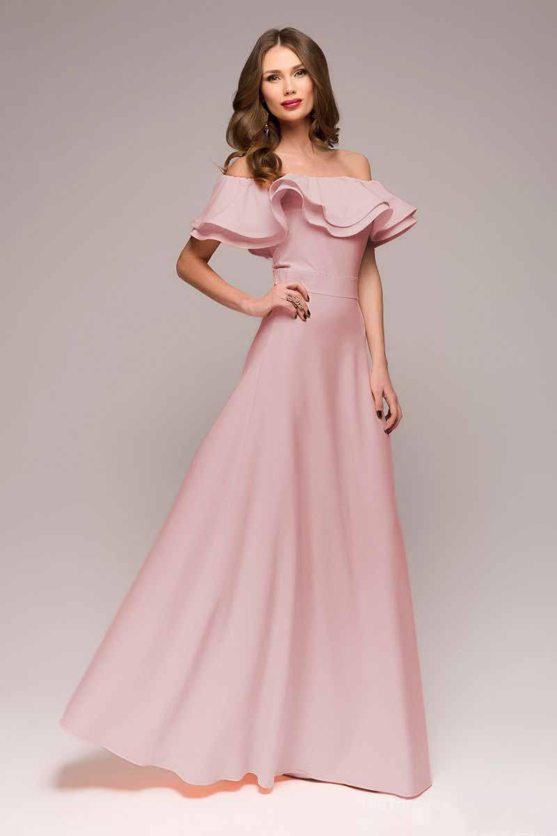 Платье 1001 Dress, цвет: сиреневый. DM00546. Размер XL (48)DM00546Шикарное платье 1001 Dress для шикарных женщин. Нежный цвет, длинная летящая юбка, воланы на плечах и втачной пояс, подчеркивающий талию, создают невероятно хрупкий и женственный образ. Идеальный выбор для торжественного дня.