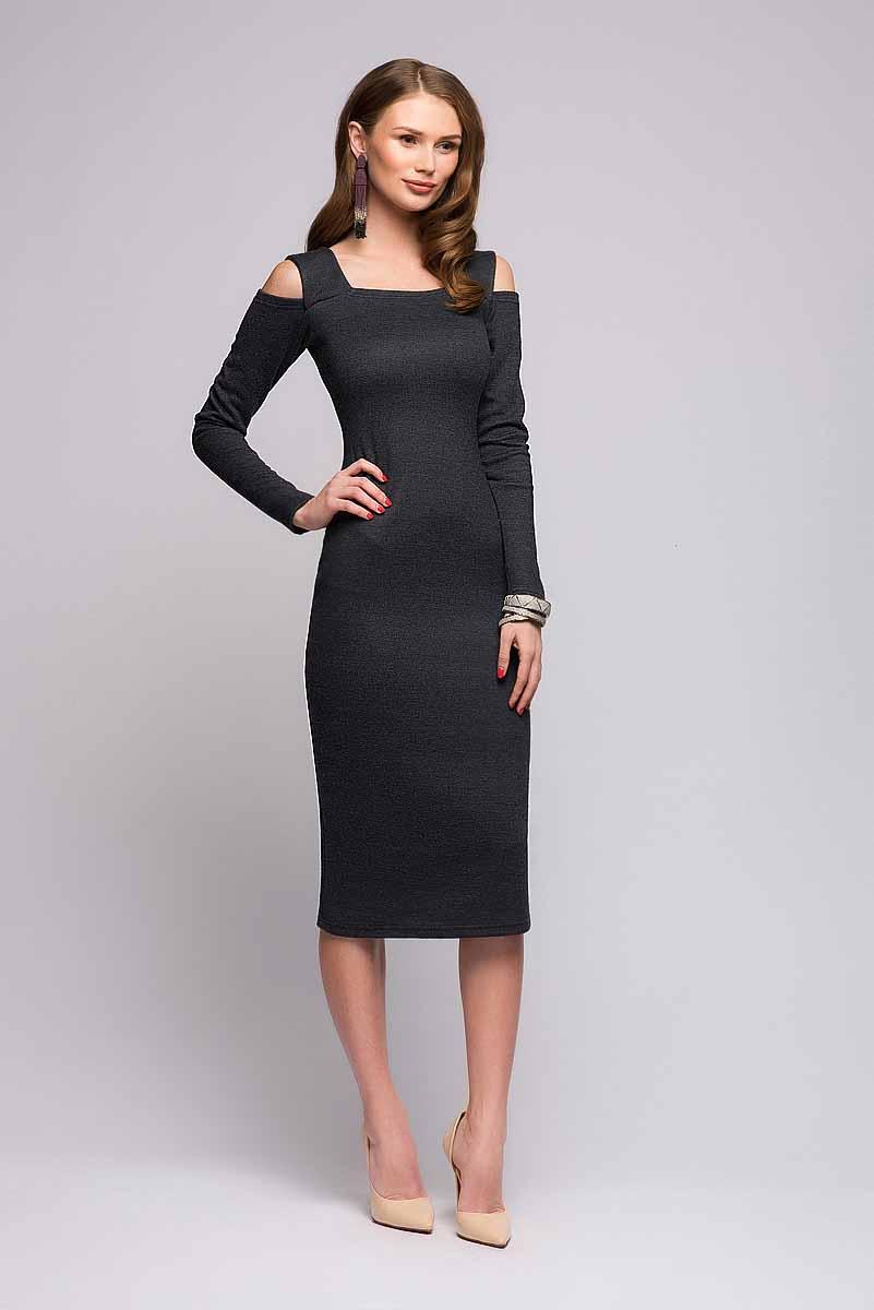 Платье 1001 Dress, цвет: темно-серый. DM00685. Размер XS (40)DM00685Платье 1001 Dress выполнено из вязаного трикотажа. Приталенный силуэт, длина миди, интересная ткань, оригинальные вырезы на плечах. Отличное платье на каждый день, с которым можно создавать любой образ при помощи аксессуаров.