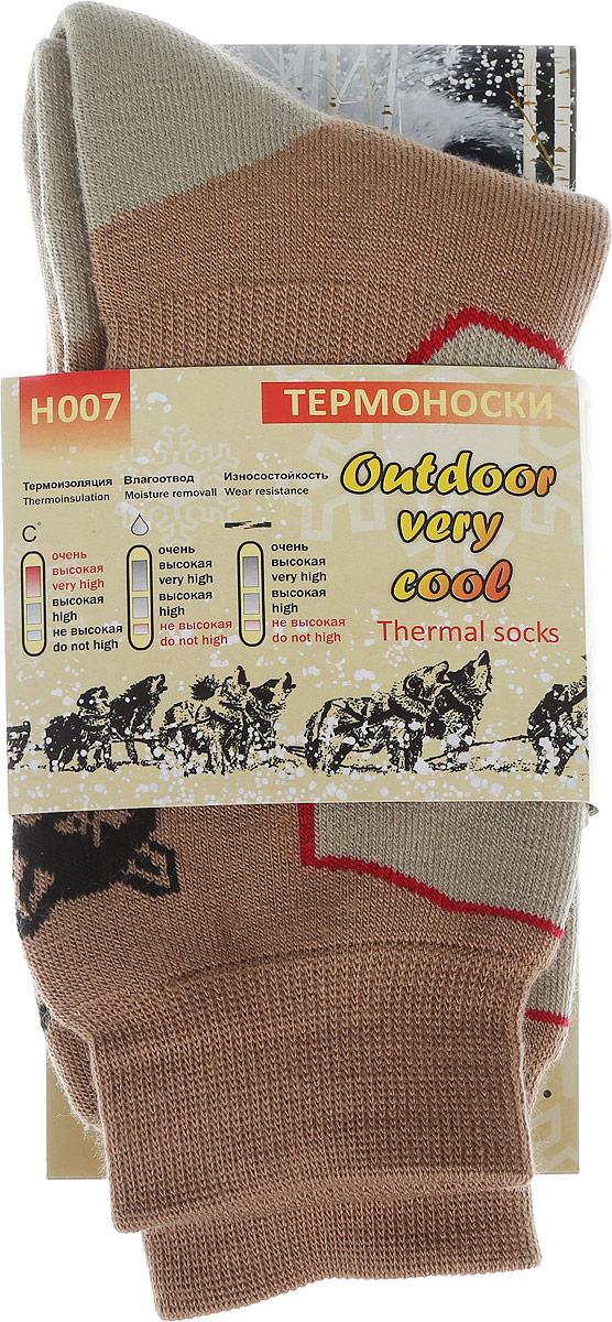 Термоноски мужские Haski, цвет: коричневый, серо-бежевый, черный, красный. H007. Размер 44/46H007Мужские термоноски Haski предназначены для длительного нахождения на улице в холодную и очень холодную погоду. Многозональная модель выполнена из акрила, полиамида, мериносовой шерсти и кордура. Модель имеет увеличенную толщину для максимального сохранения тепла. Шерсть мериносов отлично сохраняет тепло, впитывает влагу и поглощает запах.