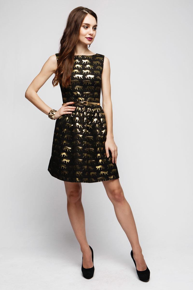 Платье 1001 Dress, цвет: черный, золотой. DM00714. Размер XS (40)DM00714Яркое, стильное, модное платье 1001 Dress обязательно выделит вас из толпы. Приталенный силуэт, удачное сочетание черного и золотого, фасон в стиле Baby Doll. В таком платье вы будете звездой любой вечеринки.