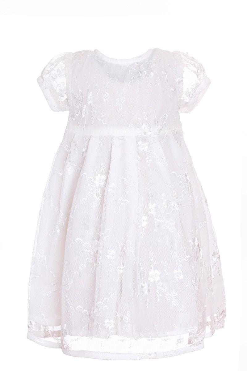 Платье для девочки БЕМБІ, цвет: молочный. ПЛ131-17. Размер 74ПЛ131-17Очаровательное платье для девочки БЕМБІ выполнено из натурального хлопка. Платье с короткими рукавами-фонариками и круглым вырезом горловины на спинке застегивается на пуговицы. От линии талии заложеныскладочки, придающие изделию пышность. Оформлена модель кружевом.