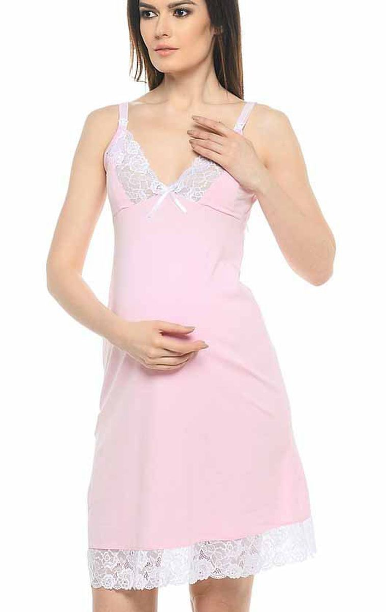 Сорочка для беременных и кормящих Hunny Mammy, цвет: розовый, белый. 1-НМП 10902. Размер 421-НМП 10902Удобная трикотажная ночная сорочка для беременных и кормящих Hunny Mammy изготовлена из высококачественного хлопкового материала с добавлением эластана. Сорочка с секретом для кормления, застежка-клипса. Чашка и низ сорочки отделаны кружевом.