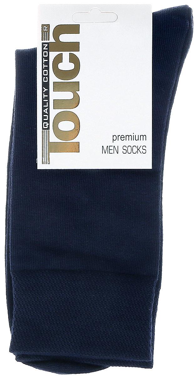 Носки мужские Touch Gold, цвет: темно-синий. 046. Размер 27/29046Стильные мужские носки Touch Gold изготовлены из лучших сортов длинноволокнистого хлопка с добавлением эластановых волокон, которые обеспечивают повышенную износостойкость и превосходную посадку. Модель со стандартным паголенком на широкой эластичной резинки оформлена в лаконичном дизайне.