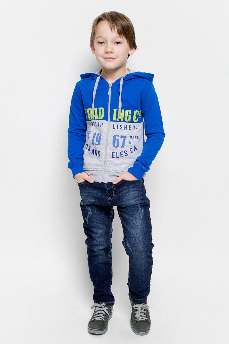 Джинсы для мальчика Sweet Berry, цвет: темно-синий. 206333. Размер 128, 8 лет206333Стильные джинсы для мальчика Sweet Berry изготовлены из эластичного хлопка. Джинсы дополнены мягкой флисовой подкладкой. Модель слегка заужена к низу. Джинсы застегиваются на пуговицу и имеют ширинку на застежке-молнии. На изделии предусмотрены шлевки для ремня. Регулировка в поясе на эластичной тесьме с пуговицами обеспечит идеальную посадку по фигуре. Спереди расположены два втачных кармана и один маленький накладной, сзади - два накладных. Модель оформлена модными потертостями.