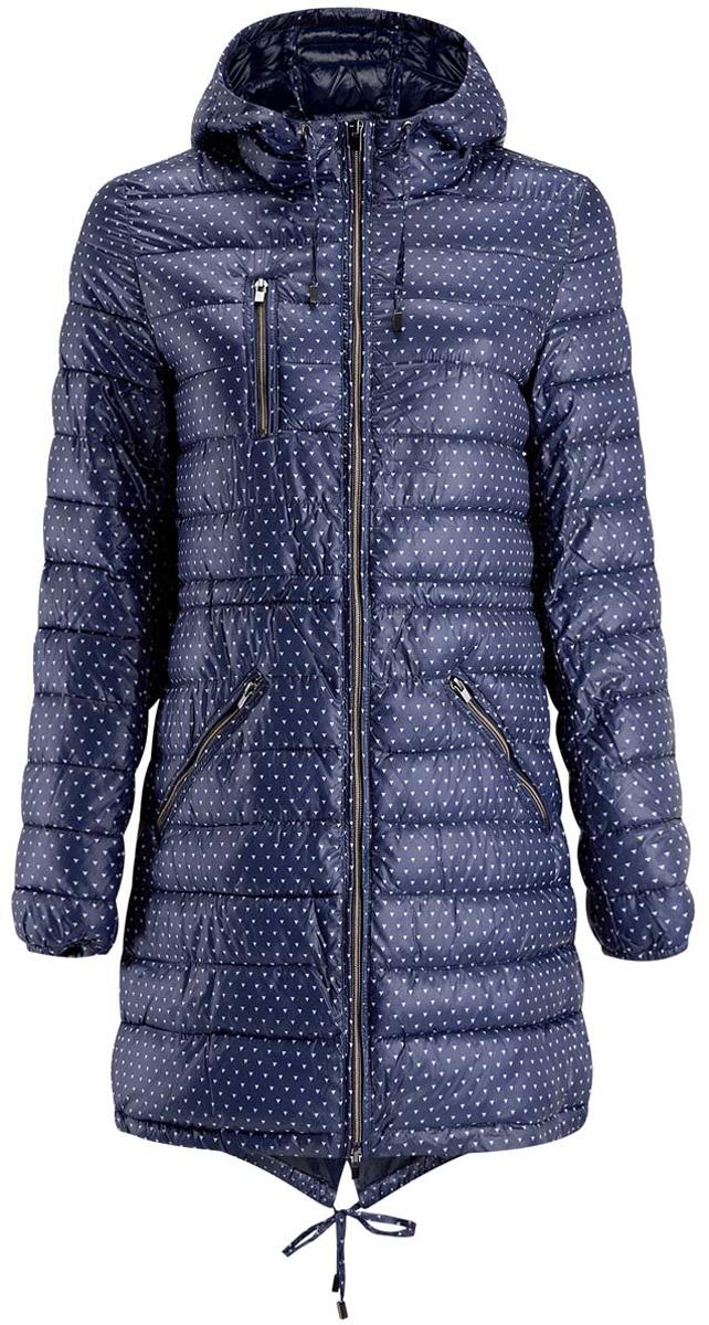 Куртка женская oodji Ultra, цвет: темно-синий, белый. 10203056-1/45614/7912G. Размер 38-170 (44-170)10203056-1/45614/7912GЖенская куртка oodji Ultra выполнена из 100% полиэстера. В качестве подкладки и утеплителя также используется полиэстер. Модель с несъемным капюшоном застегивается на застежку-молнию. Капюшон дополнен затягивающимся шнурком. Манжеты рукавов присборены на эластичные резинки. Спереди расположено два прорезных кармана на застежках-молниях и один нагрудный карман на молнии. Куртка с внутренней стороны на талии затягивается кулиской, что предотвращает проникновение холодного воздуха.