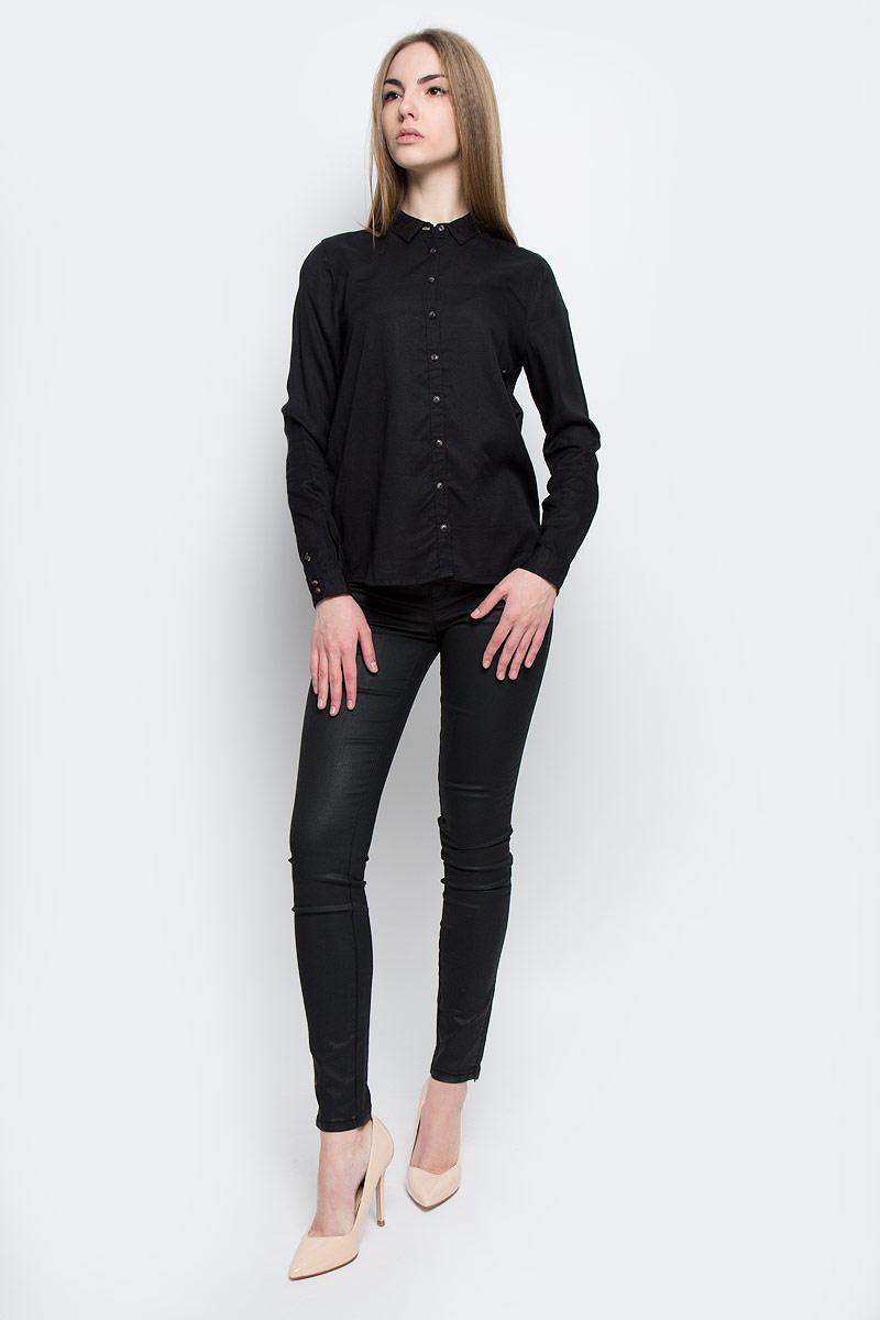 Рубашка женская Wrangler, цвет: черный. W5188BD01. Размер S (44)W5188BD01Симпатичная женская рубашка Wrangler, изготовлена из высококачественного материала. Модная рубашка с длинными рукавами и отложным воротником, полукруглым низом, застегивается на пуговицы.