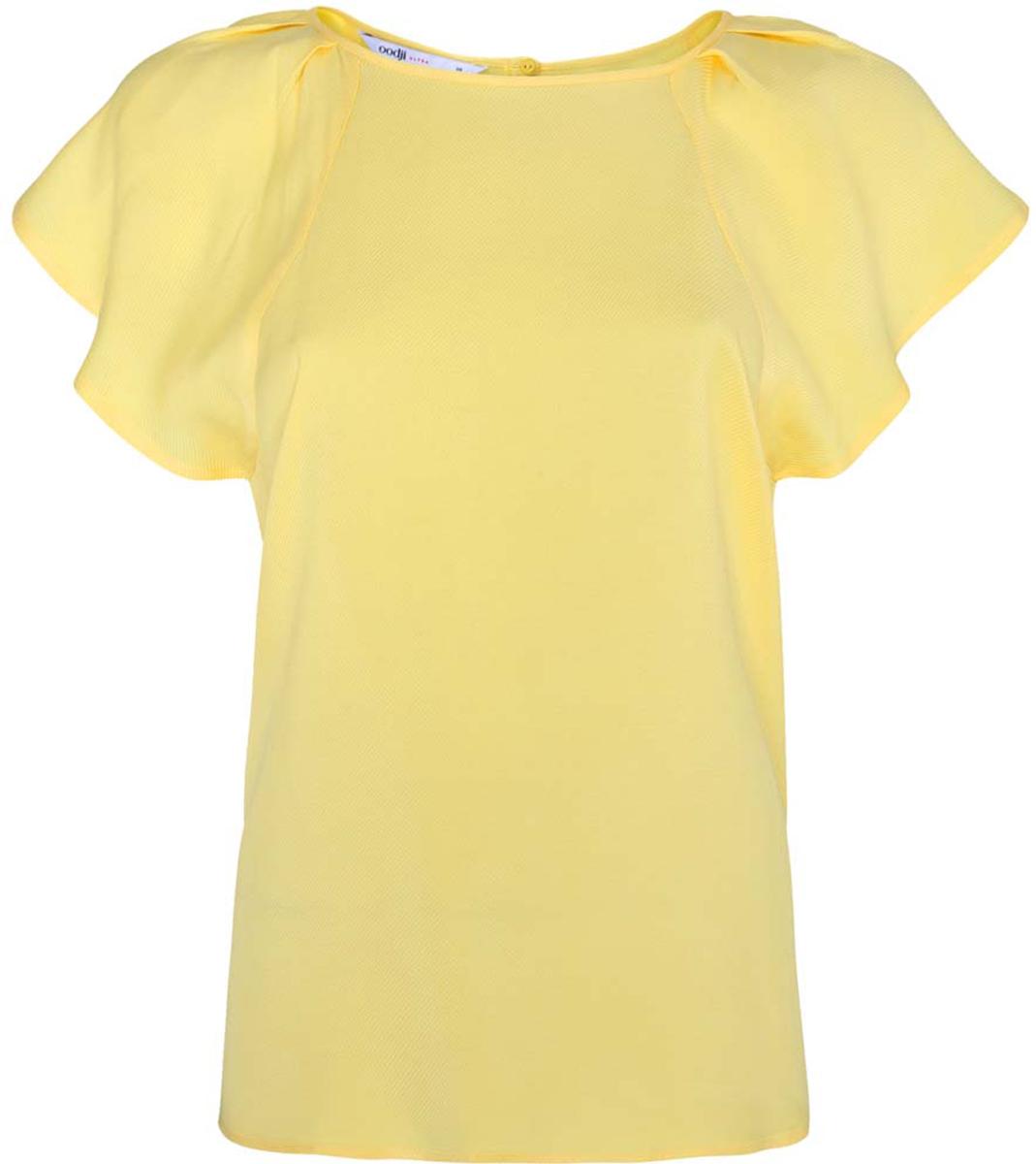 Блузка женская oodji Ultra, цвет: желтый. 11411106/45542/5200N. Размер 34-170 (40-170)11411106/45542/5200NЖенская блузка oodji Ultra выполнена из вискозы. Модель с круглым вырезом горловины и рукавами-крылышками, на спинке застегивается на пуговицу.