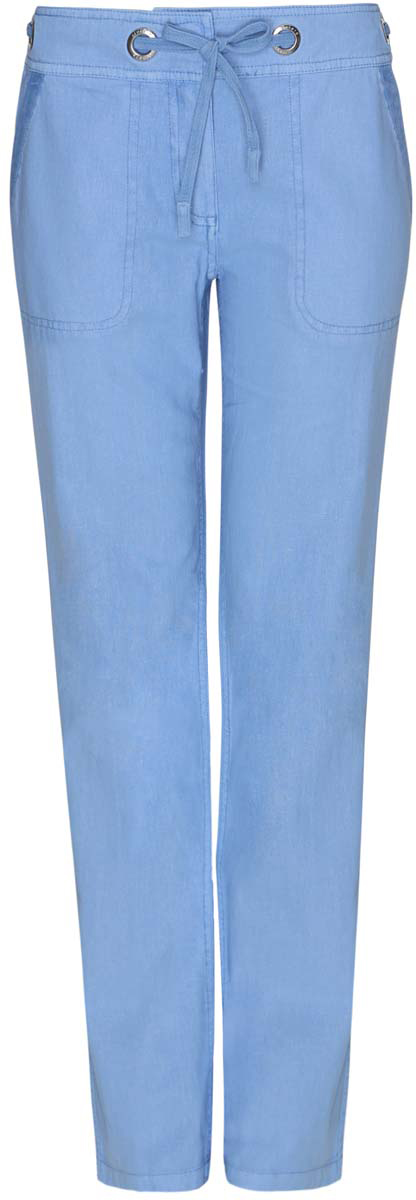 Брюки женские oodji Collection, цвет: голубой. 21704160/19638/7500N. Размер 38-170 (44-170)21704160/19638/7500NСтильные женские брюки oodji Collection выполнены из льна и хлопка. Брюки прямого кроя и стандартной посадки застегиваются на два крючка в поясе и ширинку на застежке-молнии, с внутренней стороны - на пуговицу. Пояс дополнен шнурком, пропущенным через металлические люверсы. Спереди модель дополнена двумя втачными карманами, сзади - двумя прорезными карманами на пуговицах.
