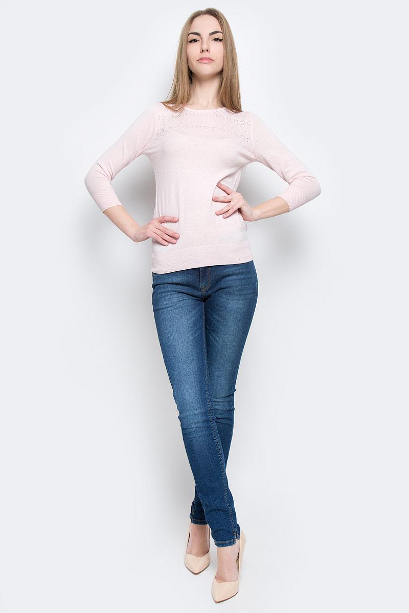 Джемпер женский oodji Ultra, цвет: светло-розовый. 63812555-1/43402/4000N. Размер XXS (40)63812555-1/43402/4000NСтильный женский джемпер oodji Ultra изготовлен из качественного комбинированного материала.Модель с рукавами 3/4 и круглым вырезом горловины оформлена на плечиках ажурной вязкой. Низ и манжеты рукавов выполнены из трикотажной резинки.