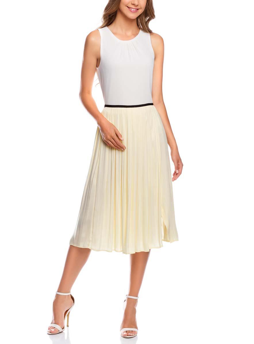 Юбка oodji Ultra, цвет: светло-желтый. 11600379-1/42662/5000N. Размер 36-170 (42-170)11600379-1/42662/5000NПлиссированная юбка oodji Ultra полностью выполнена из полиэстера. Модель-миди застегивается на застежку-молнию сбоку.