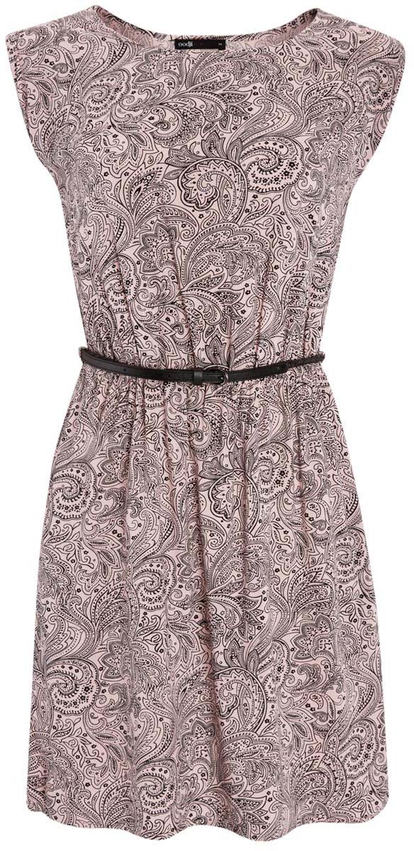 Платье oodji Ultra, цвет: нежно-розовый, черный. 11910073/26346/4B29E. Размер 42-170 (48-170)11910073/26346/4B29EПлатье oodji Ultra без рукавов исполнено из легкой струящейся ткани. Имеет круглый вырез воротника и резинку на талии. В комплект входит поясок с металлической пряжкой.