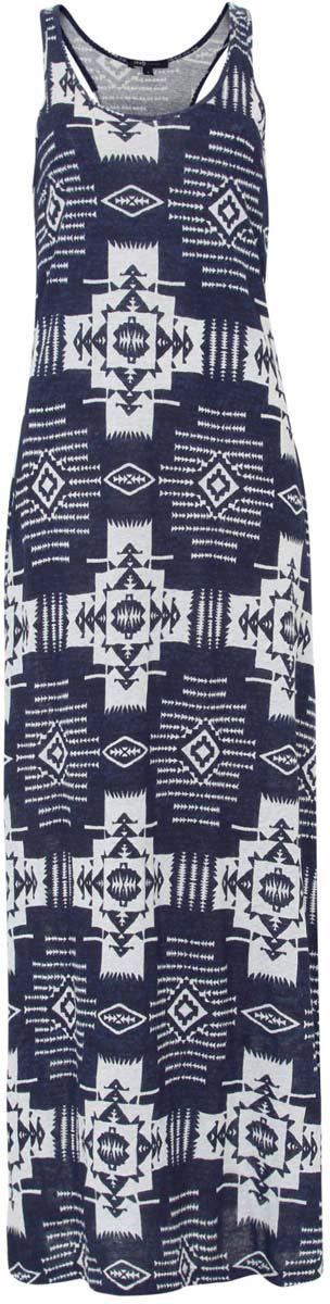 Платье oodji Ultra, цвет: темно-синий, светло-серый. 14015006/45412/7920E. Размер S (44)14015006/45412/7920EПлатье oodji Ultra исполнено полностью из натурального хлопка. Изделие имеет длину макси и спинку-борцовку. Оформлено этническим принтом.