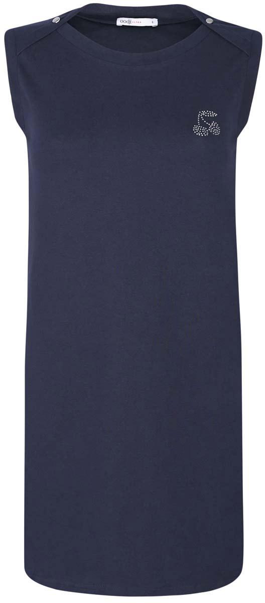 Платье oodji Ultra, цвет: темно-синий. 14005074-1/45602/7900N. Размер XS (42)14005074-1/45602/7900NПлатье oodji Ultra выполнено из хлопка с добавлением полиуретана. Модель с круглым вырезом горловины, втачными карманами по бокам, небольшим принтом из страз на груди и без рукавов.