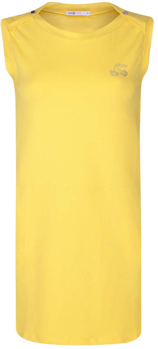 Платье oodji Ultra, цвет: желтый. 14005074-1/45602/5200N. Размер XL (50)14005074-1/45602/5200NПлатье oodji Ultra выполнено из хлопка с добавлением полиуретана. Модель с круглым вырезом горловины, втачными карманами по бокам, небольшим принтом из страз на груди и без рукавов.