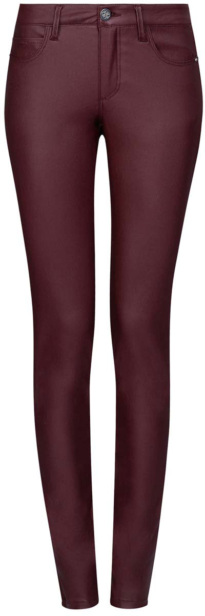 Джинсы женские oodji Denim, цвет: бордовый. 12103143/43334/4900N. Размер 28-30 (46-30)12103143/43334/4900NМодные женские джинсы под кожу oodji Denim выполнены из вискозы с добавлением полиамида и эластана, что обеспечивает комфортную посадку и идеальное облегание. Джинсы модели скинни имеют стандартную посадку. Застегиваются на пуговицу в поясе и ширинку на застежке-молнии, имеются шлевки для ремня. Джинсы имеют классический пятикарманный крой: спереди расположены два втачных кармана и один небольшой накладной карман, а сзади - два накладных кармана. Модель выполнена в однотонной расцветке.