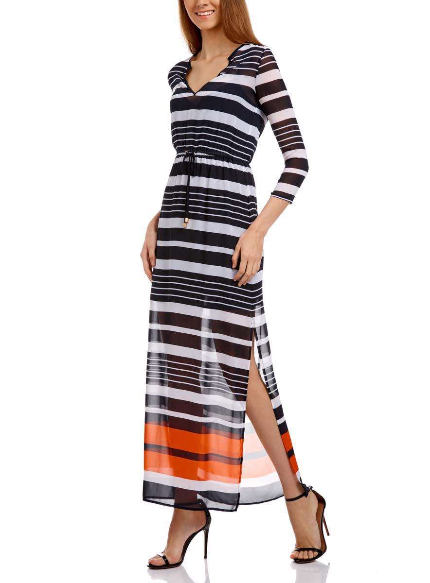 Платье oodji Collection, цвет: белый, темно-синий, оранжевый. 21911018/17358/1079S. Размер 36-170 (42-170)21911018/17358/1079SДлинное платье oodji Collection изготовлено из тонкого шифона. Модель выполнена с V-образным вырезом и рукавами 3/4. На талии платье собрано на вшитую резинку и дополнено шнурком-завязкой. По бокам у модели имеются глубокие разрезы, внутри - короткое нижнее платьице на бретельках.