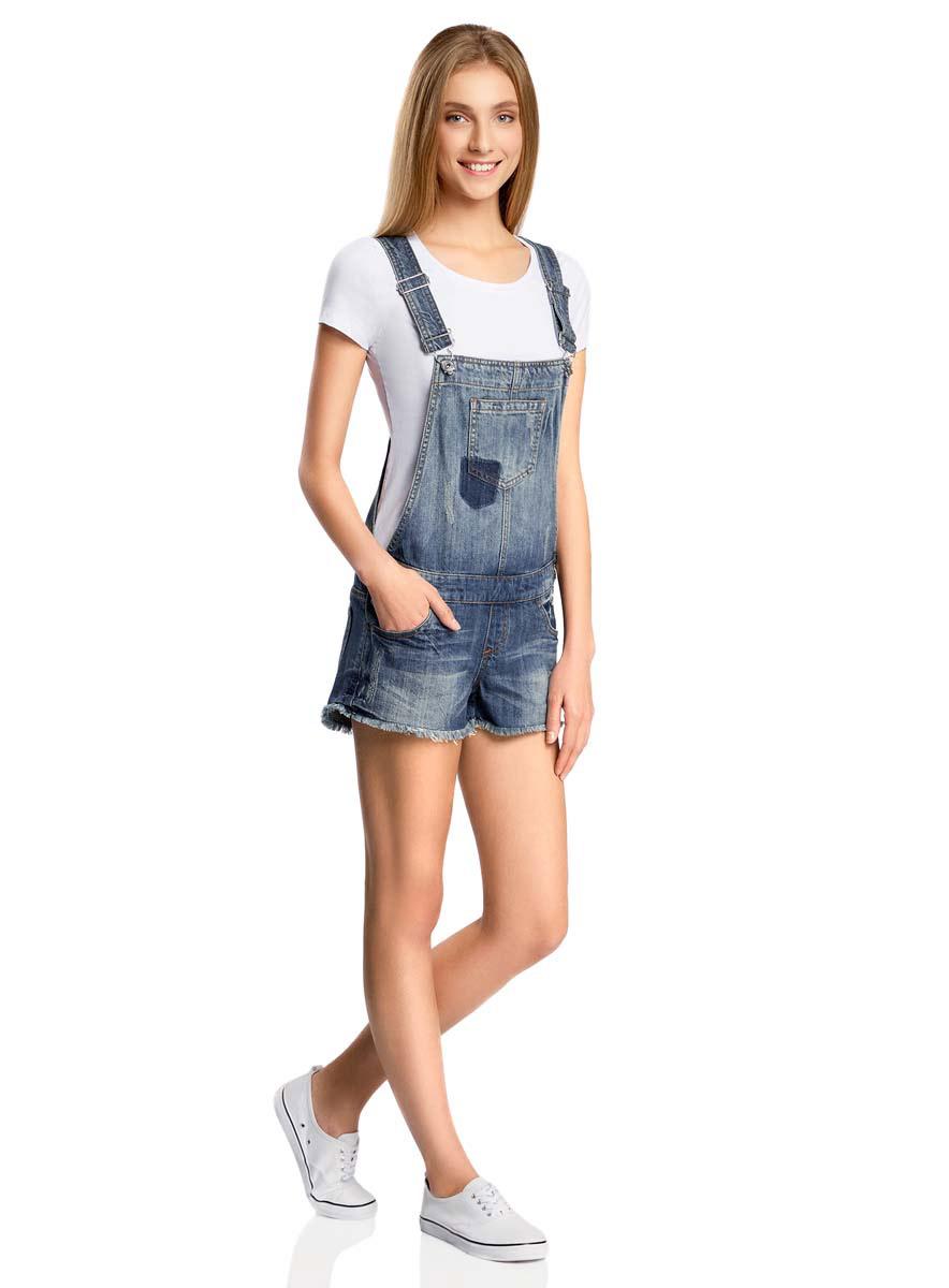 Комбинезон женский oodji Ultra, цвет: темно-синий джинс. 13109056/42559/7900W. Размер 40-170 (46-170)13109056/42559/7900W