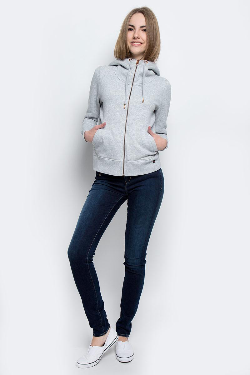 Толстовка женская Calvin Klein Jeans, цвет: светло-серый меланж. J20J201273_0380. Размер XL (50/52)J20J201273_0380Стильная женская толстовка Calvin Klein Jeans выполнена из хлопка и полиэстера с добавлением эластана. Модель с капюшоном, дополненным шнурком и длинными рукавами, застегивается спереди на металлическую застежку-молнию. Низ изделия и манжеты рукавов дополнены трикотажными резинками. Спереди расположены два накладных кармана.
