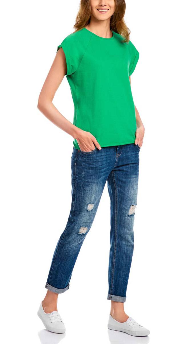 Футболка женская oodji Ultra, цвет: зеленый. 14707001-4B/46154/6A00N. Размер XXS (40)14707001-4B/46154/6A00NЖенская футболка выполнена из хлопка. Модель с круглым вырезом горловины и короткими рукавами реглан, дополненными отворотом.