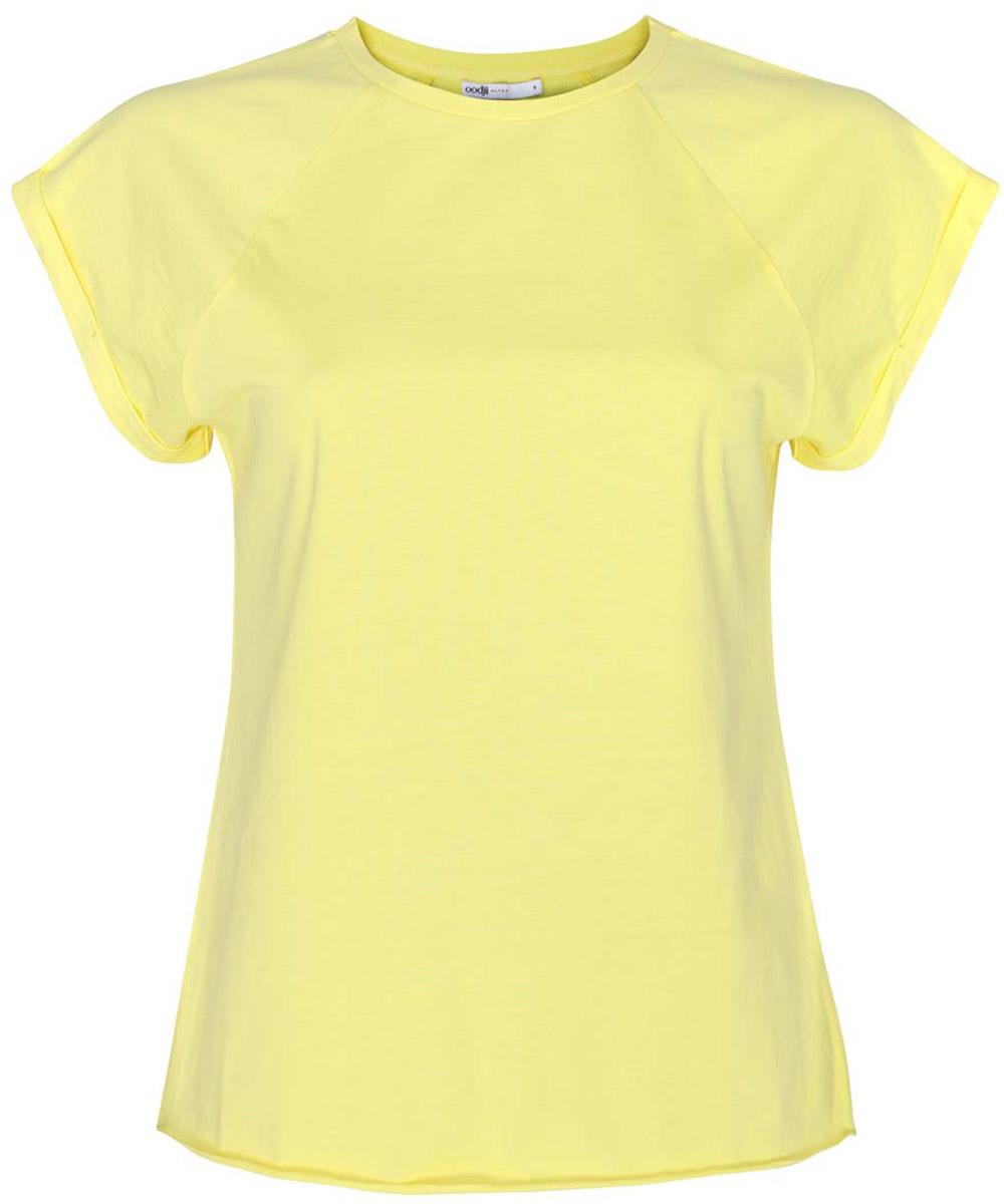 Футболка женская oodji Ultra, цвет: лимонный. 14707001-4B/46154/6700N. Размер XL (50)14707001-4B/46154/6700NЖенская футболка выполнена из хлопка. Модель с круглым вырезом горловины и короткими рукавами реглан, дополненными отворотом.