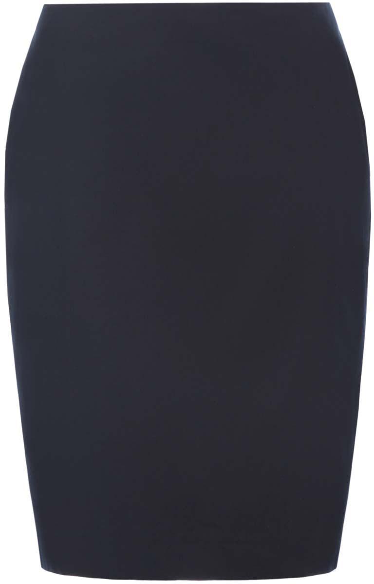 Юбка oodji Collection, цвет: темно-синий. 21608006-3B/14522/7900N. Размер 42-170 (48-170)21608006-3B/14522/7900NСтильная юбка oodji Collection выполнена из хлопка сдобавлением полиуретана. Модель застегивается сзади на застежку-молнию.