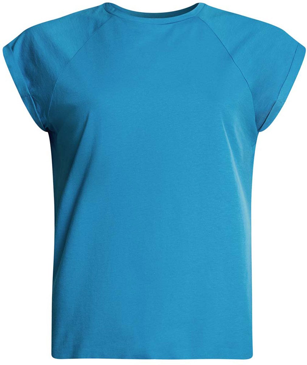 Футболка женская oodji Ultra, цвет: ярко-голубой. 14707001-4B/46154/7500N. Размер XXS (40)14707001-4B/46154/7500NЖенская футболка выполнена из хлопка. Модель с круглым вырезом горловины и короткими рукавами реглан, дополненными отворотом.