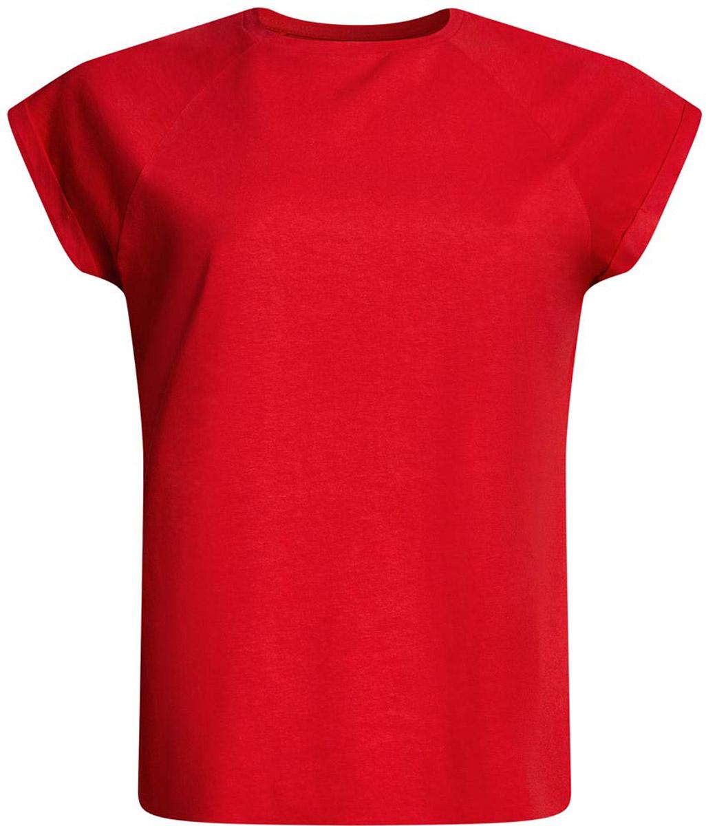 Футболка женская oodji Ultra, цвет: красный. 14707001-4B/46154/4500N. Размер M (46)14707001-4B/46154/4500NЖенская футболка выполнена из хлопка. Модель с круглым вырезом горловины и короткими рукавами реглан, дополненными отворотом.