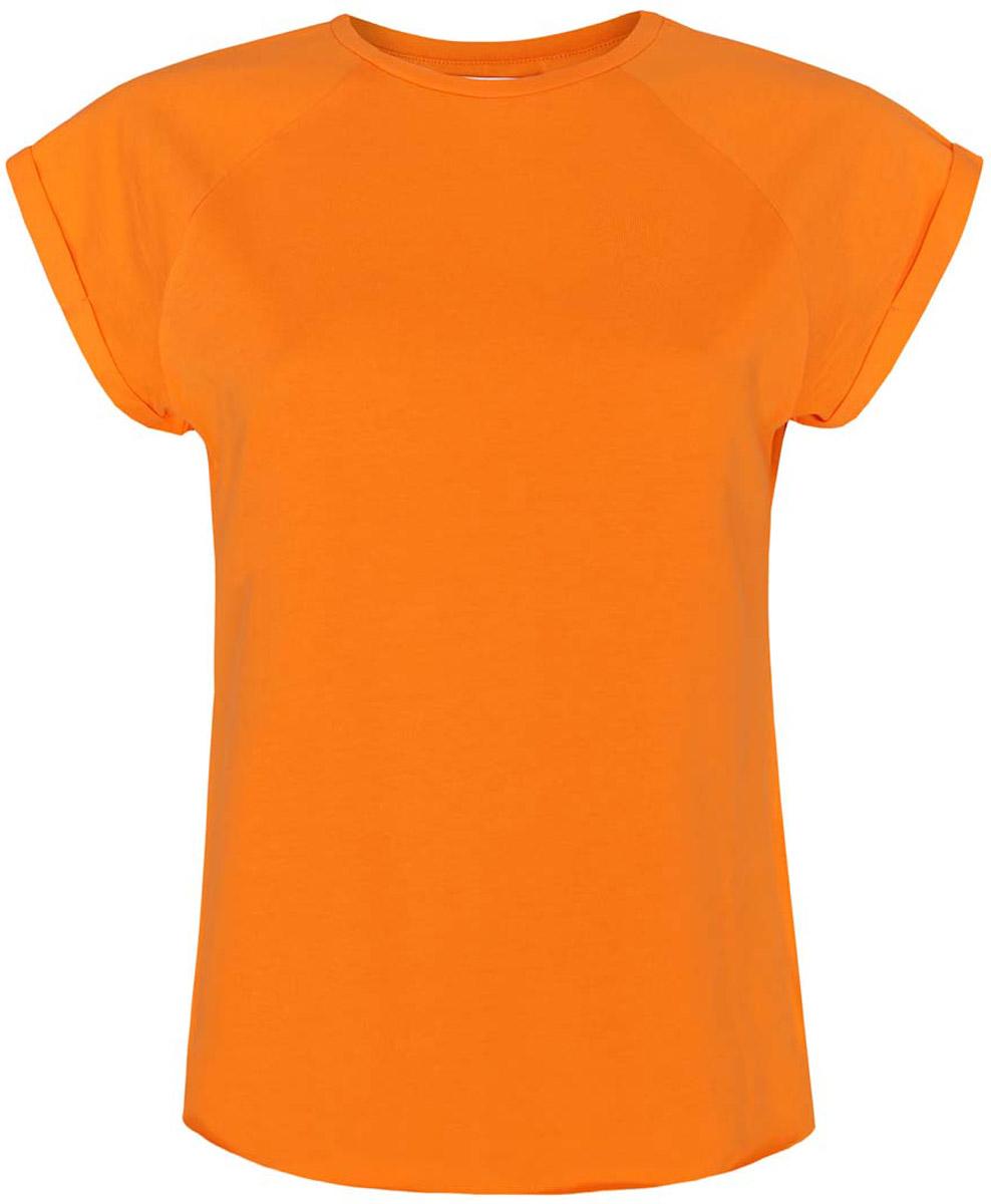 Футболка женская oodji Ultra, цвет: оранжевый. 14707001-4B/46154/5500N. Размер XXS (40)14707001-4B/46154/5500NЖенская футболка выполнена из хлопка. Модель с круглым вырезом горловины и короткими рукавами реглан, дополненными отворотом.