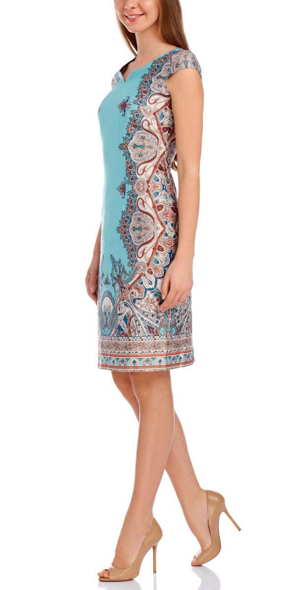Платье oodji Collection, цвет: бирюзовый, бежевый. 21911008-5/33587/7333E. Размер 36-170 (42-170)21911008-5/33587/7333EСтильное платье oodji Collection изготовлено из натурального хлопка с этническим рисунком. Модель застегивается сбоку на молнию. Платье выполнено с короткими рукавами, фигурным вырезом горловины и разрезом сзади на подоле.