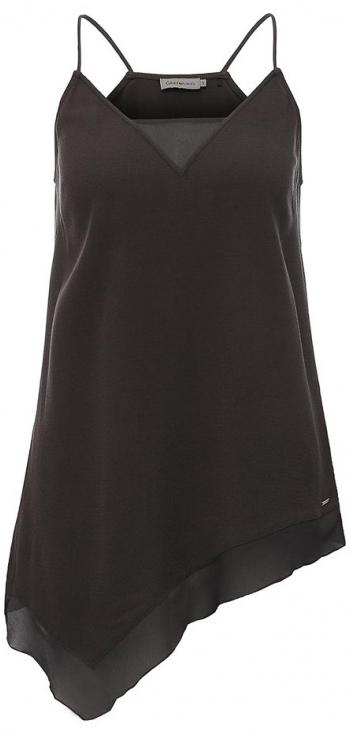 Топ женский Calvin Klein Jeans, цвет: темно-серый. J20J201237_0040. Размер S (42/44)J20J201237_0040Нежный женский топ Calvin Klein Jeans выполнен из качественной вискозы с отделкой из полиэстера. Модель на бретелях с V-образным воротом выполнена в нестандартной форме. Правая сторона изделия удлинена, а низ и вырез горловины дополнены вставками из полупрозрачной ткани. Топ оформлен небольшой металлической пластиной с названием бренда.