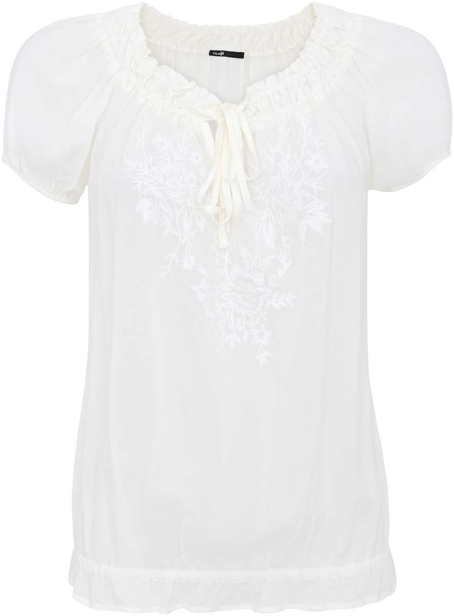 Блузка женская oodji Ultra, цвет: молочный. 11413001M/24681/1200P. Размер 36 (42-170)11413001M/24681/1200PЖенская блуза oodji Ultra с короткими рукавами и круглым вырезом горловины с завязками выполнена из натуральной вискозы. Горловина, низ и манжеты рукавов блузки дополнены эластичными резинками, благодаря чему собираются множеством мелких складок. На груди расположена крупная вышивка с цветочным узором.