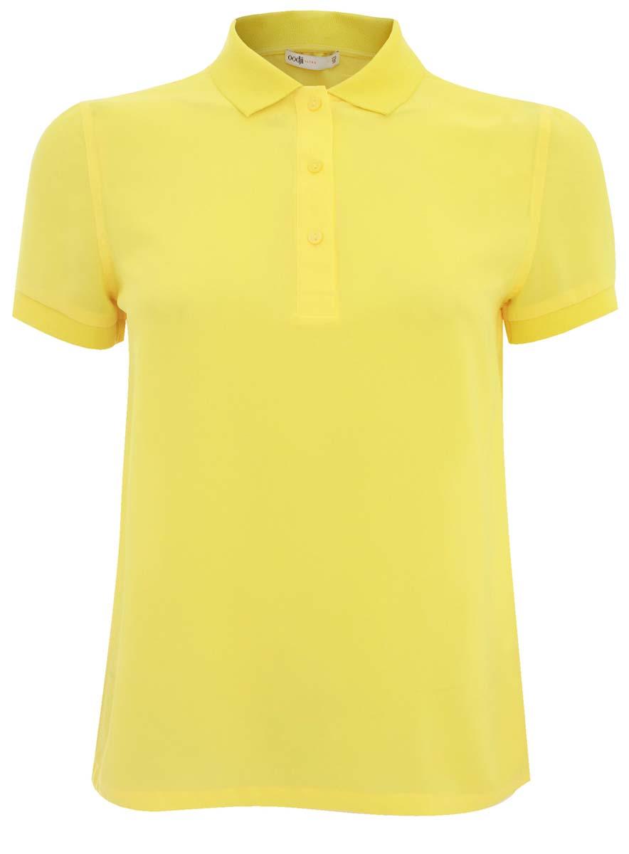 Блузка женская oodji Ultra, цвет: лимонный. 11400383/35664/5100N. Размер 34 (40-170)11400383/35664/5100NЖенская блуза oodji Ultra с короткими рукавами и отложным воротником выполнена из высококачественного полиэстера. Блузка стилизовано под поло, имеет свободный крой и застегивается на пуговицы на груди. Манжеты рукавов дополнены трикотажными резинками.