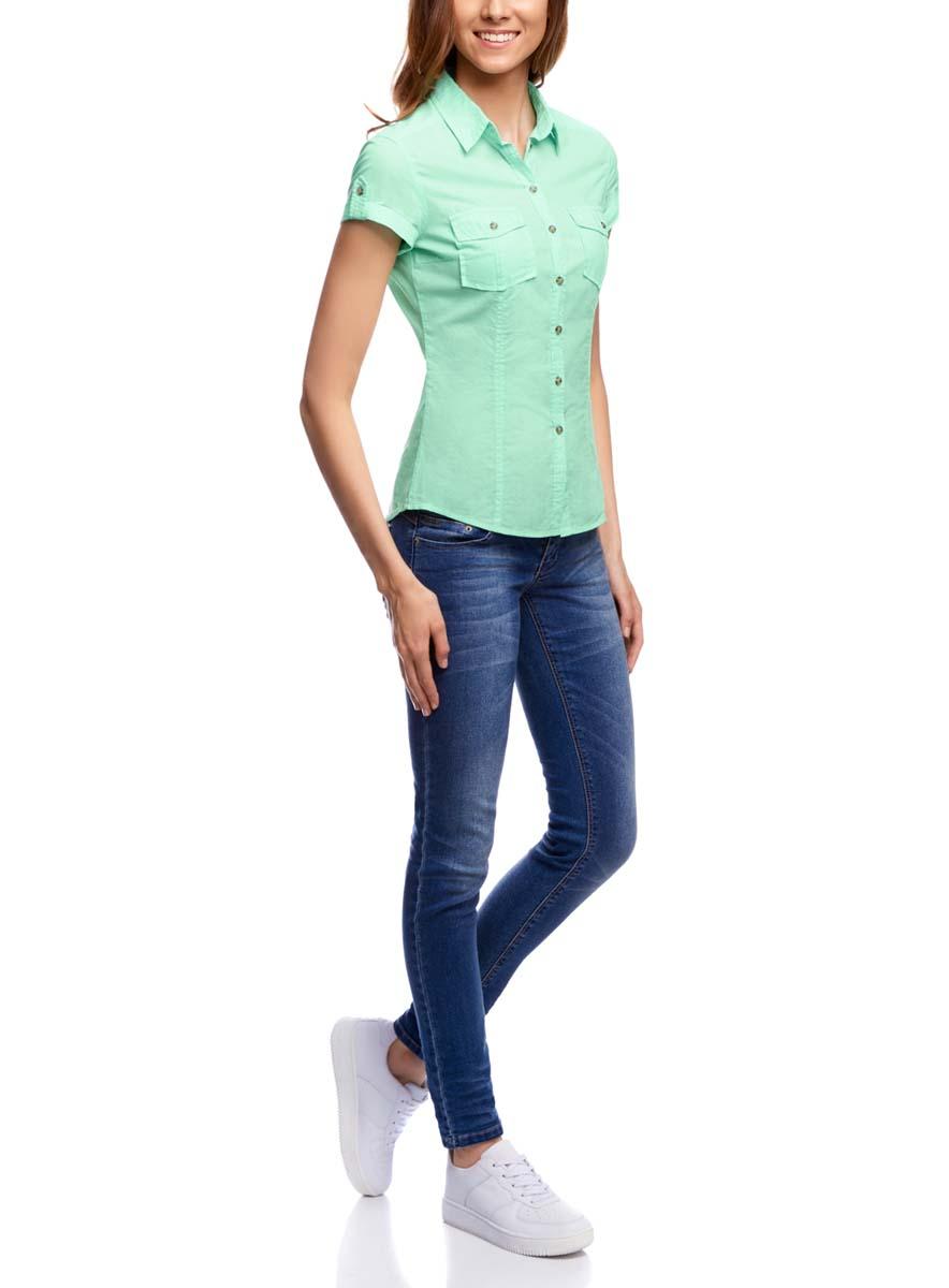Рубашка женская oodji Ultra, цвет: ментоловый. 11402084-5B/45510/6500N. Размер 42-170 (48-170)11402084-5B/45510/6500NЖенская рубашка oodji Ultra выполнена из натурального хлопка. Модель с отложным воротником и короткими рукавами на груди дополнена двумя накладными карманами с клапанами на пуговицах.