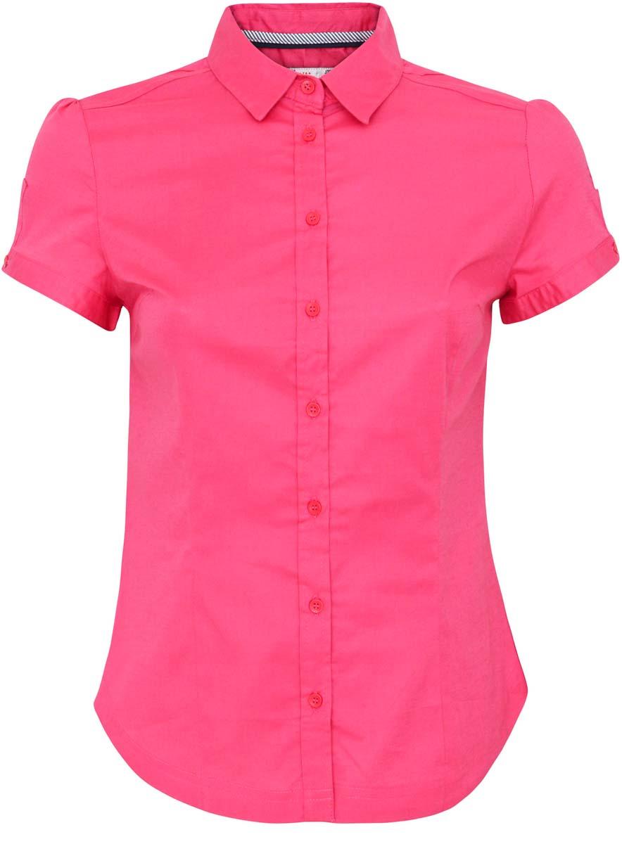 Блузка женская oodji Ultra, цвет: ярко-розовый. 11401238-1/33582/4D00N. Размер 38-170 (44-170)11401238-1/33582/4D00NЖенская блузка oodji Ultra выполнена из хлопка с добавление полиуретана. Изделие с короткими рукавами и отложным воротником застегивается на пуговицы спереди. Манжеты рукавов также застегиваются на пуговицы.